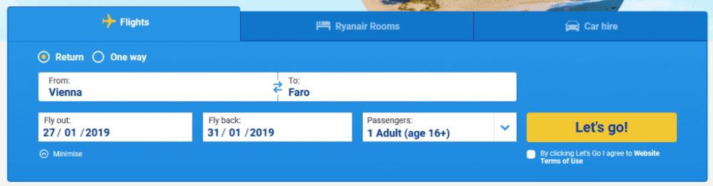 Vyhledávání Ryanair