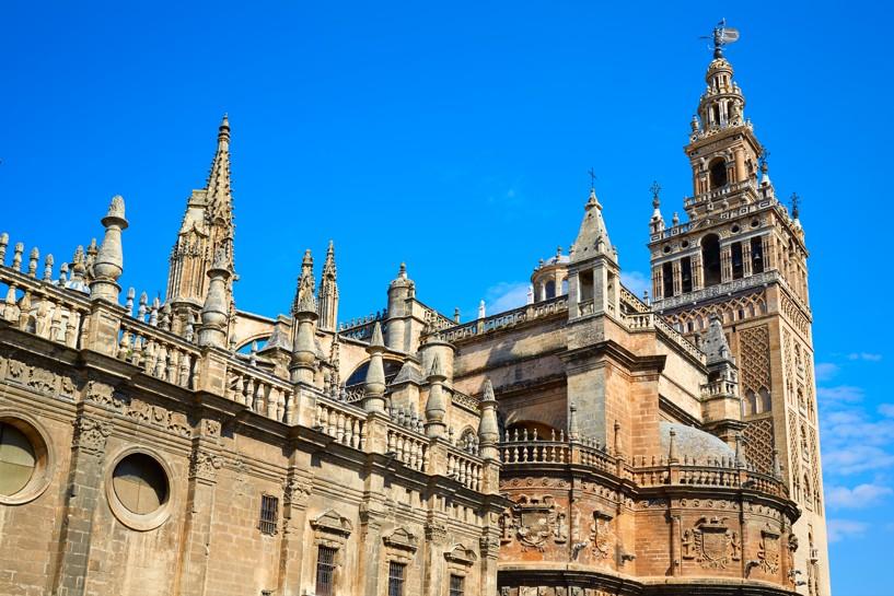 Sevillské katedrály Giralda tower Sevilla Andalusie Španělsko