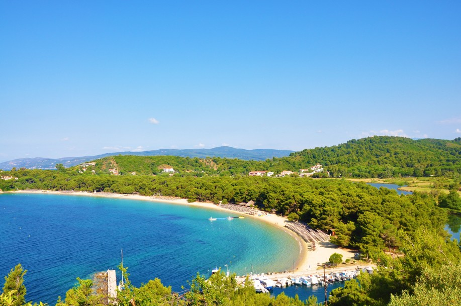 Koukounaries beach bay view in Skiathos