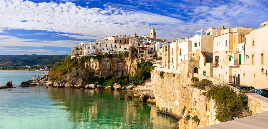 Puglia - picturesque town Vieste, Itálie