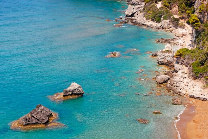 pláž Myrtiotissa, Korfu