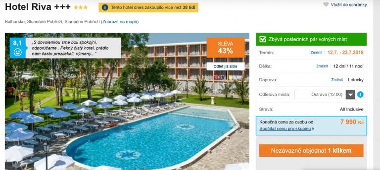 Zájezd Bulharsko (hotel Riva)