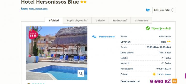Zájezd Kréta (hotel Hersonissos Blue)