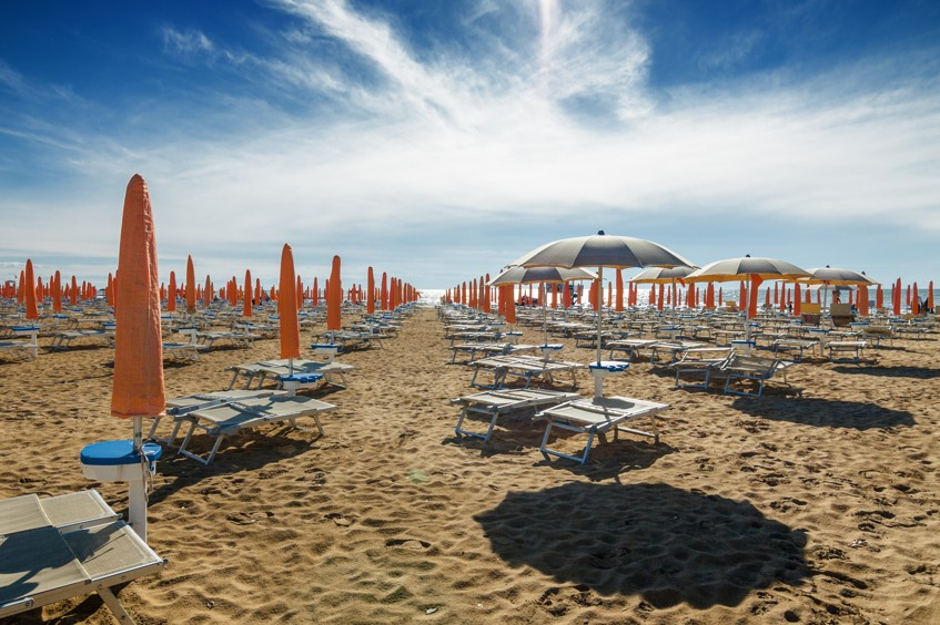 pláži Lido di Jesolo, nedaleko Benátky